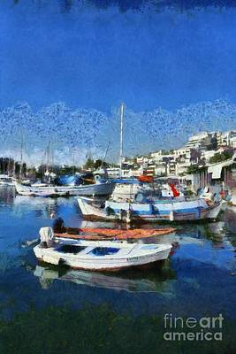 Painting - Fishing Boats In Mikrolimano Port IIi by George Atsametakis