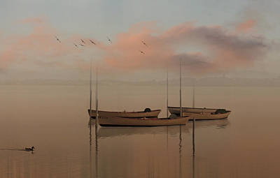 Mixed Media - Fishing Boats Resting At Dusk by Clive Littin