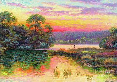 Impressionism Royalty-Free and Rights-Managed Images - Fishing in Evening Glow by Jane Small