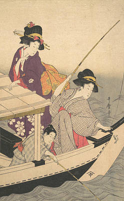 Relief - Fishing by Kitagawa Utamaro