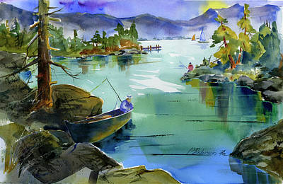 Painting - Fishing Lake Tahoe by Joan Chlarson