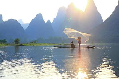 Fishing On The Li River Art Print by Bihaibo