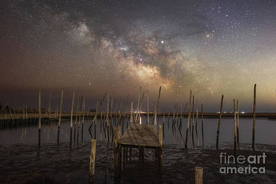 Photograph - Fishing Pier Under The Milky Way  by Michael Ver Sprill