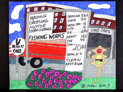 Drawing - Fishing Worms by Barb Moran