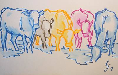 Drawing - Five Cows Five Colors Watercolor Line Drawing by Mike Jory