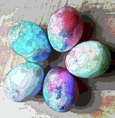 Lovely Lavender - Five Dyed Easter Eggs 16 by Cathy Lindsey