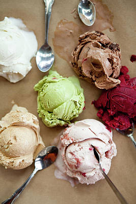 Photograph - Five Ice Cream Scoops Melting With by Leela Cyd