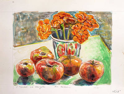 Painting - Five Tomatoes And Marigolds by Ann Heideman