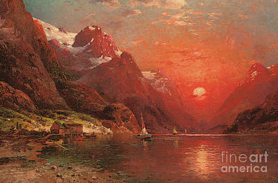 Painting - Fjord At Dusk, 1922 by Ivan Fedorovich Choultse