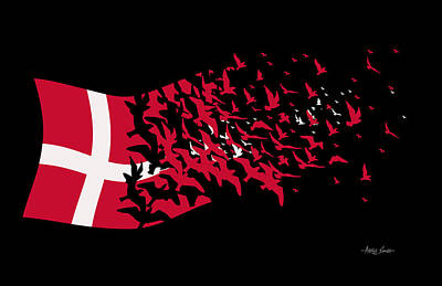 Mixed Media - Flag Of Freedom, Denmark, Bird Series, Artist Singh by Artist Singh MAPS