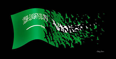 Mixed Media - Flag Of Saudi Arabia, Artist Singh by Artist Singh MAPS