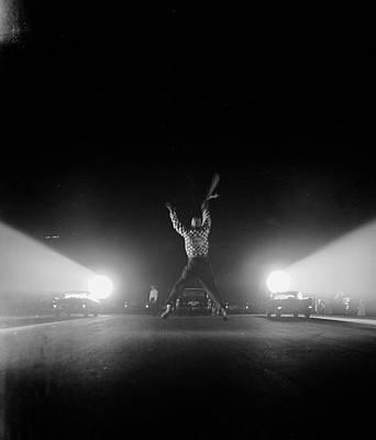 Photograph - Flag-waver Beginning Drag Race.  Photo by Hank Walker