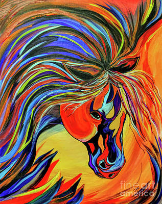 Animals Paintings - Flame Bold and Colorful War Horse by Janice Pariza