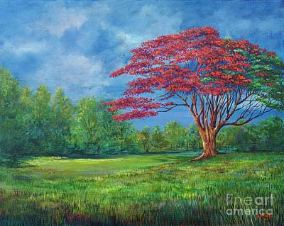 Painting - Flame Tree by AnnaJo Vahle