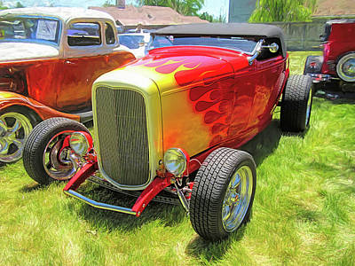 Photograph - Flamed Red 1932 Ford Roadster by David King