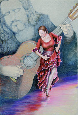Drawing - Flamenco by Joan Garcia