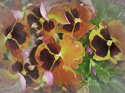 Mixed Media - Flaming Pansies 9  by Lynda Lehmann