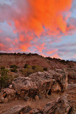 Photograph - Flaming Red Clouds Over Bentonite Site by Ray Mathis