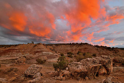 Photograph - Flaming Sunset Over Bentonite Site by Ray Mathis