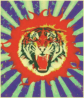 Digital Art - Flaming Tiger by Gary Grayson