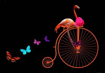 Digital Art - Flamingo Life Is Good by Debra and Dave Vanderlaan