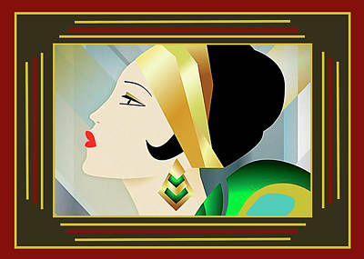 Digital Art - Flapper With Border by Chuck Staley