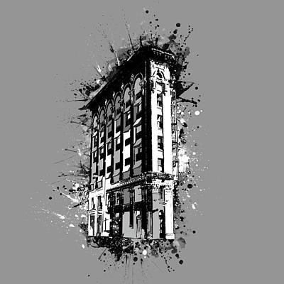 Digital Art - Flatiron Building Fort Worth Black And White by Bekim Art