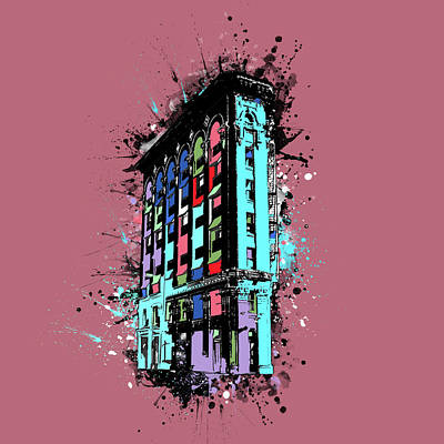 Digital Art - Flatiron Building Fort Worth Pop Art 2 by Bekim Art