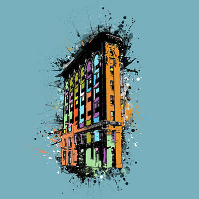 Digital Art - Flatiron Building Fort Worth Pop Art  by Bekim Art