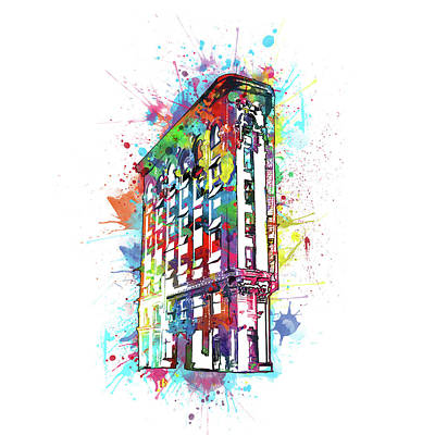 Digital Art - Flatiron Building Fort Worth Watercolor by Bekim Art