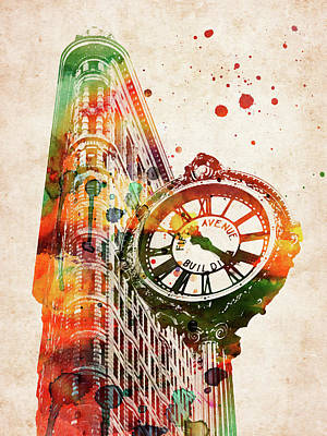 Landmarks Royalty Free Images - Flatiron clock colorful watercolor Royalty-Free Image by Mihaela Pater