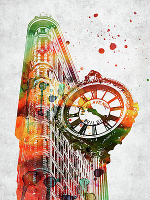 Landmarks Royalty Free Images - Flatiron clock colorful watercolor on grey paper Royalty-Free Image by Mihaela Pater