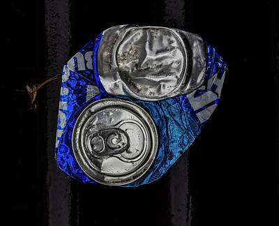 Photograph - Flattened Can And Raindrops by Robert Ullmann