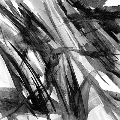 Music Paintings - Flavonius - Black and White Abstract by Susan Porter