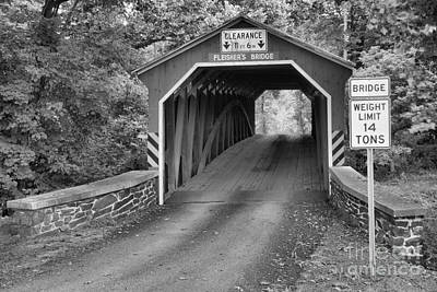Photograph - Fleisher Covered Bridge Landscape Black And White by Adam Jewell