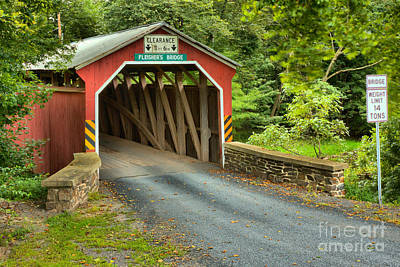 Photograph - Fleishers Covered Bridge Through The Woods by Adam Jewell