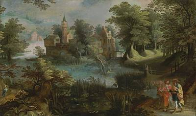Rowing Royalty Free Images - Flemish School, 17th Century A wooded landscape with Christ on the Road to Emmaus Royalty-Free Image by Celestial Images