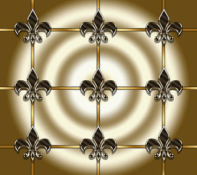 Digital Art - Fleur-de-lis Tiled by Chuck Staley