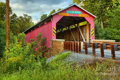Photograph - Flickinger's Mill - Bristline Covered Bridge by Adam Jewell