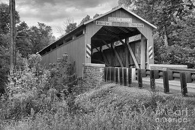 Photograph - Flickinger's Mill - Bristline Covered Bridge Black And White by Adam Jewell