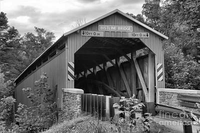 Photograph - Flickinger's Mill Coverd Bridge Landscape Black And White by Adam Jewell