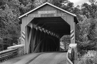 Photograph - Flickinger's Mill Covered Bridge Black And White by Adam Jewell