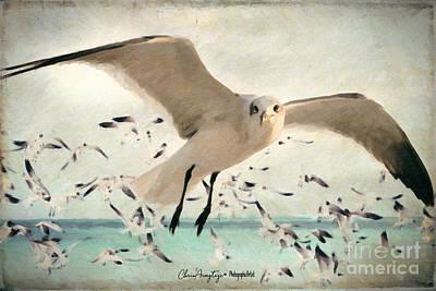 Animals Digital Art - Flight of the Gulls by Chris Armytage