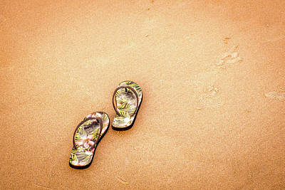 Photograph - Flip-flops On The Sand. by Jeff Sinon