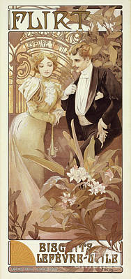 Painting - Flirt Vintage Poster By Mucha by Alphonse Marie Mucha