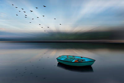 Photograph - Floating Blues Dreamscape by Debra and Dave Vanderlaan