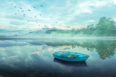 Photograph - Floating Blues In The Mist by Debra and Dave Vanderlaan