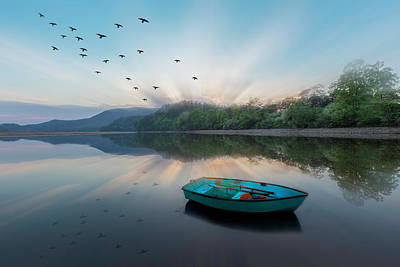 Photograph - Floating Blues Sunrays by Debra and Dave Vanderlaan