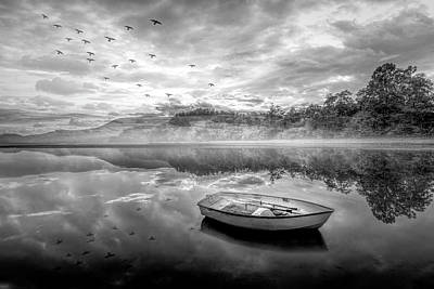 Photograph - Floating In The Mist In Black And White by Debra and Dave Vanderlaan