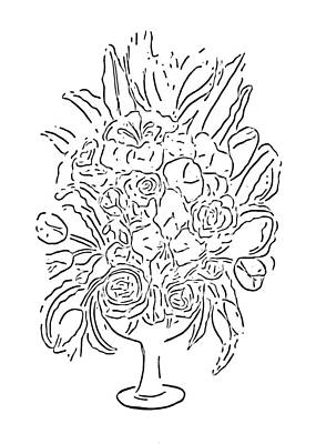 Drawing - Floral Bouquet At Paint My Sketch Art Group by Delynn Addams